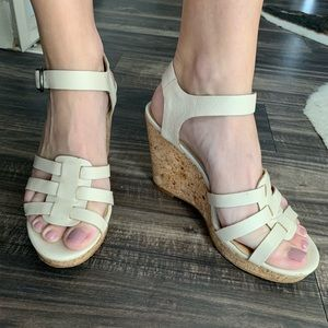 Lucky Brand Nude Leather Cork Wedges